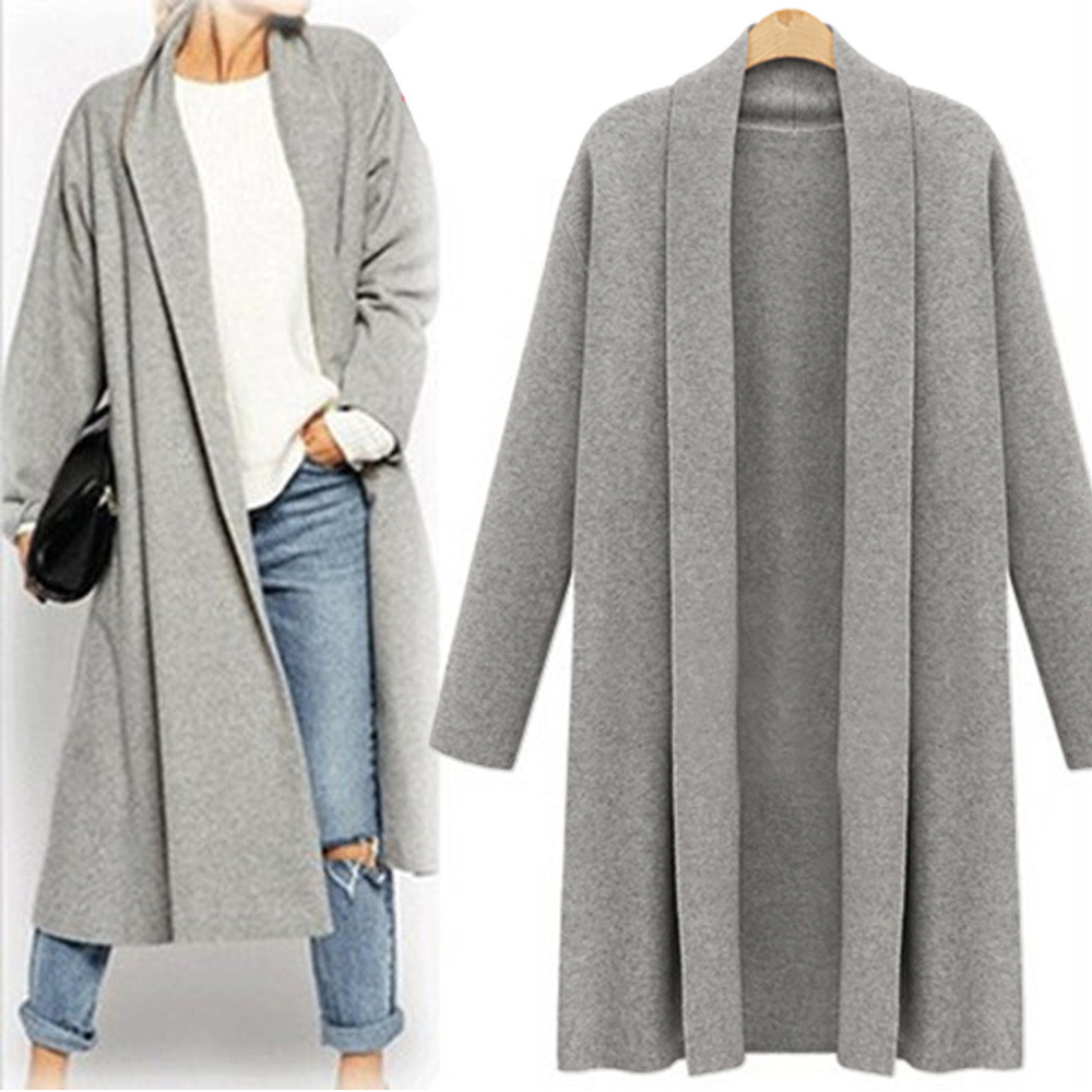 2017 New Autumn Winter Women Trench Open Front Trench Coat Long ...