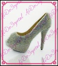 Aidocrystal 2016 sommer glitter peep toe schuhe bling bling kristall plateauschuhe high heels