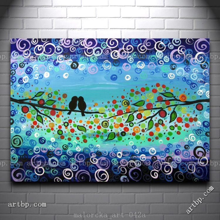 canvas painting original acrylic touches malorcka blue tree birds