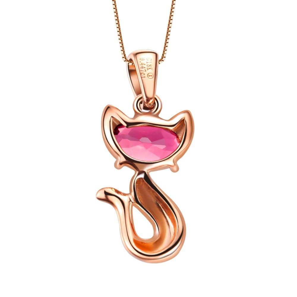 0.4ct турмалин 18 К Золото животных красный ювелирных камней Счастливая Кошка кулон подарок на день Святого Валентина Ювелирные украшения образец дизайна