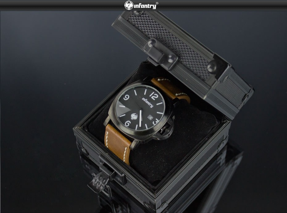 INFANTRY Fashion Rock Style Upgrade Black Aluminum Gift Box Show Cases Watches Display Watch Holder Organizer Bracelet Boxes 3