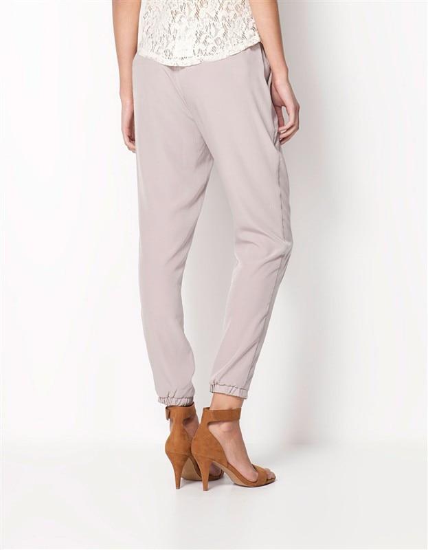 Chiffon Elastic Waist Solid Color Office Pants 5