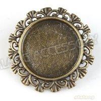 30 шт./лот сплав круг цветы пустой брошь покрытие античная бронза подвески-талисманы в форме ручной работы делает 29 х 29 х 8 мм 160733