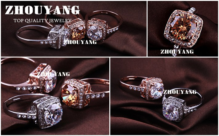Top Quality ZYR057 Yellow Crystal Rose Gold Color Ring Jewelry Crystals From Austria Full Sizes Wholesale 20