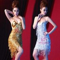 New Adult/child latin performance wear Sling Sequin girls latin dance costume Sequin Tassels women dancing dress dance clothing
