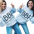 FancyQube 2017 Spring Women's Tracksuit BBF Blonde Brunette Best Friend Jumper Harajuku Hoodie Sweatshirt Gray