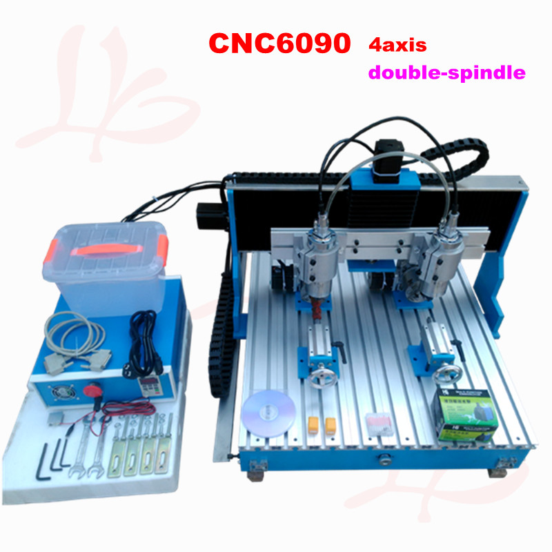 цены  LY new double spindle 6090 4 axis CNC engraving machine with linear guide rail