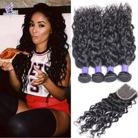 Rosa Brazilian Virgin Hair With Closure Brazilian Water Wave Hair With Closure Wet And Wavy Virgin Hair 3/4 Bundles With Closure