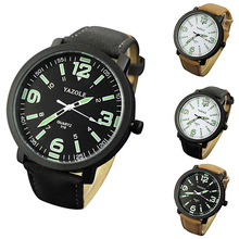 Fashion Men Women Glow in The Dark Faux Leather Strap Quartz Sport Wrist Watch