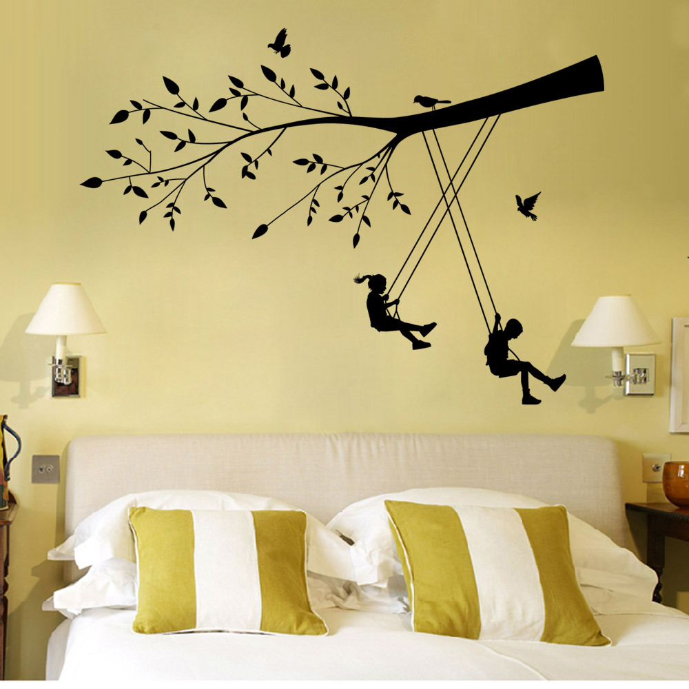 Boy and Girl Playing on a Swing under the Tree Branch Wall Decal ...
