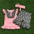 Bebés meninas roupas de verão bebê meninas roupas boutique seta cinza shorts crianças verão roupas matching headband