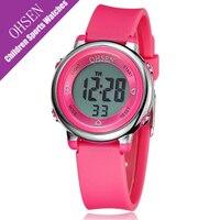 Ohsen Rubber Strap 7 Cores de Luz Ao Ar Livre Meninas Relógios Dos Esportes Dos Miúdos Crianças LED Relógio Digital Para Meninos Relógio À Prova D' Água Mão