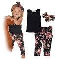 Moda de nova Floral impresso Vest + Calça + headband do 3 peças set meninas conjunto de roupas de verão 2016 de varejo 1 conjunto
