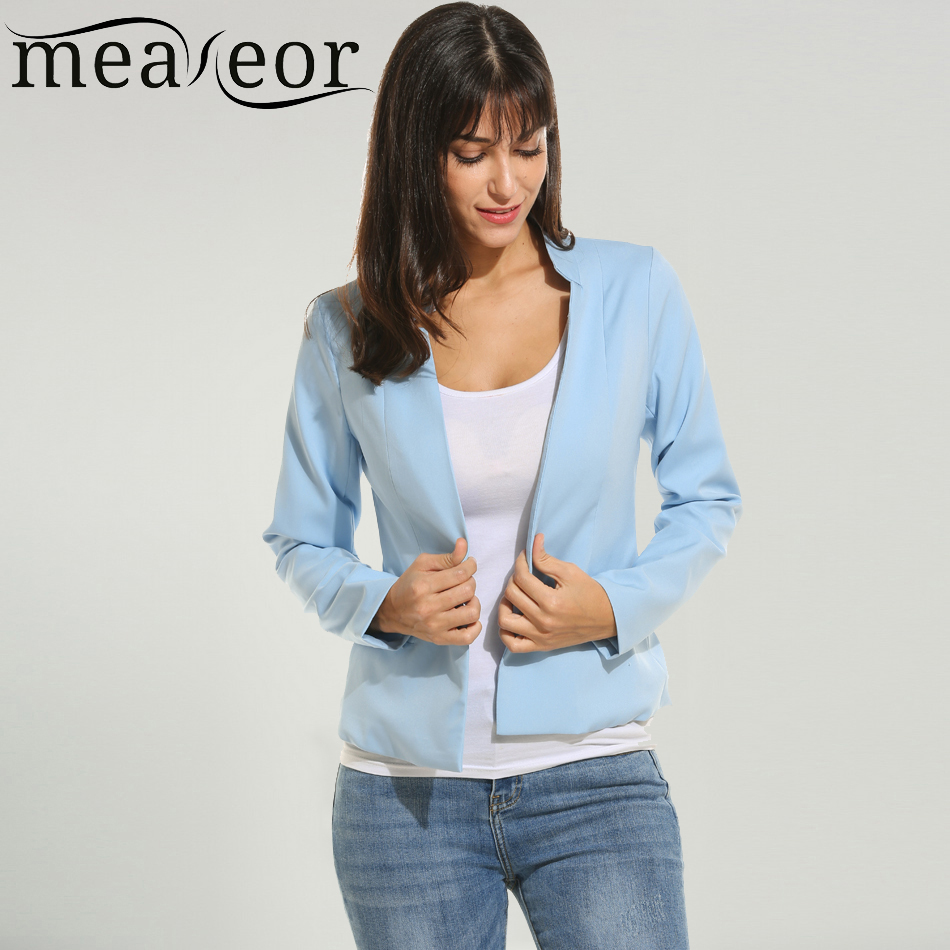 Meaneor Women Blazer New Fashion Spring Autumn Solid Long Sleeve Casual Open Front Stand Collar Side Zip Blazers Jacket
