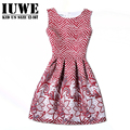 Girls Dresses Summer 2017 Dresses For Girls Of 14 Years Sleeveless Printed Big Size Red Dress Teenagers Girls Clothes Robe Fille