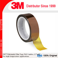 3M Polyimide Film Tape 5413 Amber, 1 in x 36 yd 2.7 mil, Pack of 1