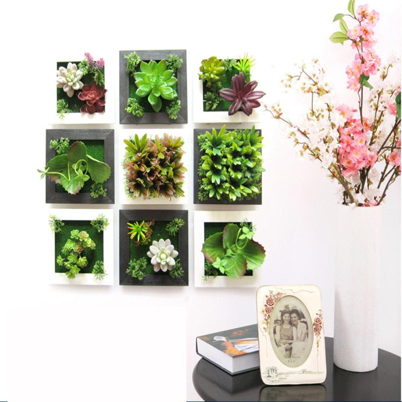 3d Creative Plant Frame Wall Sticker Home Decoration Simulation Plastic Plants A Vivid And Well Proportioned Wall Art 2017 In Wall Stickers From Home
