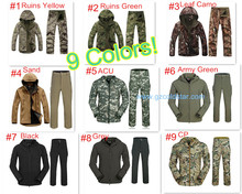 Mens Outdoor Camouflage Waterproff Hiking Suit TAD V4.0 Gear Men Army Hunting Military Hoody Softshell Jacket + Pants Set