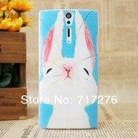 милый кролик и олень цветной рисунок жесткий пластмассовый чехол для сони Xperia S с lt26i, бесплатная доставка