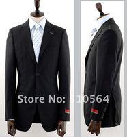 оптовая бесплатная доставка на заказ камвольно шерстяной костюм мужчины формальный костюм темно-синий скрытый полоса костюм