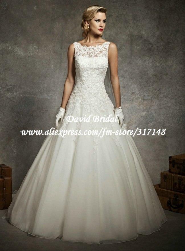Beautiful DV138 Fashion Elegant Ivory Sleeveless Lace Top Organza Wedding  Dress 2012 ... 6a627187fa90