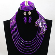 Purple Wedding Beads African Jewelry Set Crystal Rhinestone Bridal Necklace Earrings Jewelry Set for Women Free
