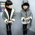 Fashion 2016 Baby Girls coat new clothes Han Shuang pocket hooded single breasted Houndstooth girls coat For 2-7Years Old