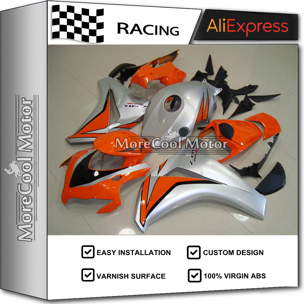 Complete Fairing Sets For Honda CBR 1000 RR 2008 2009 2010 2011 CBR1000RR 08 09 10 11 ABS Bodywork 100% Fitting ORANGE & SILVER arashi motorcycle radiator grille protective cover grill guard protector for 2008 2009 2010 2011 honda cbr1000rr cbr 1000 rr