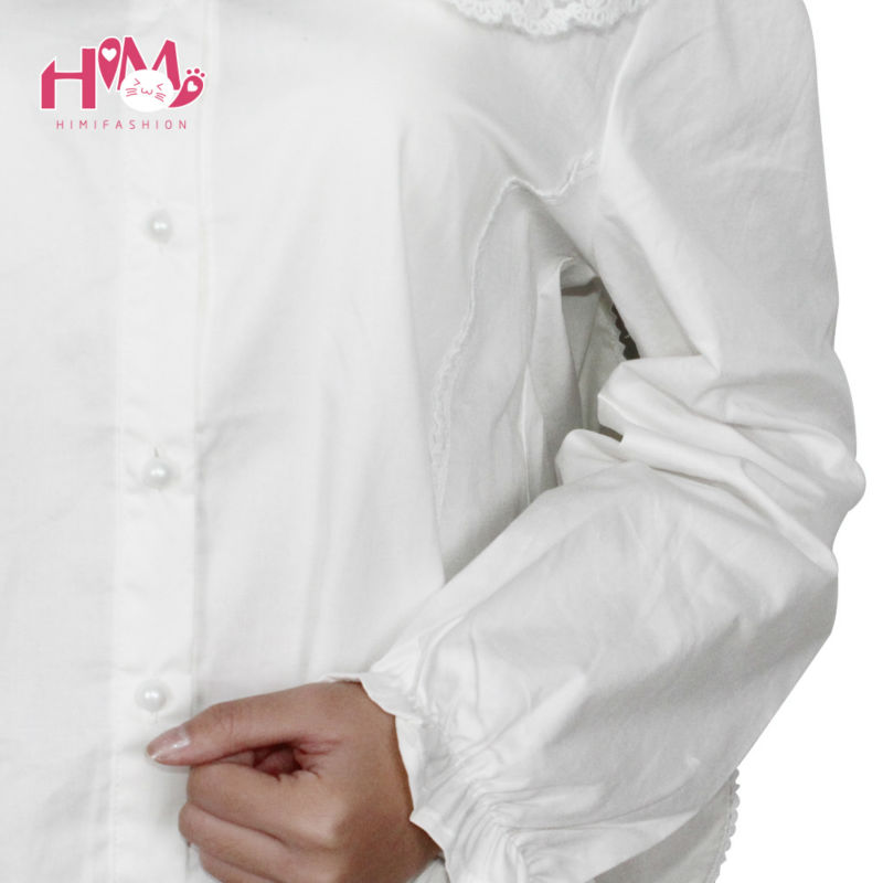 Bunny peter collar white blouse lolita shirt soft sister cosplay cute tops women summer cotton shirts white free shipping (8)