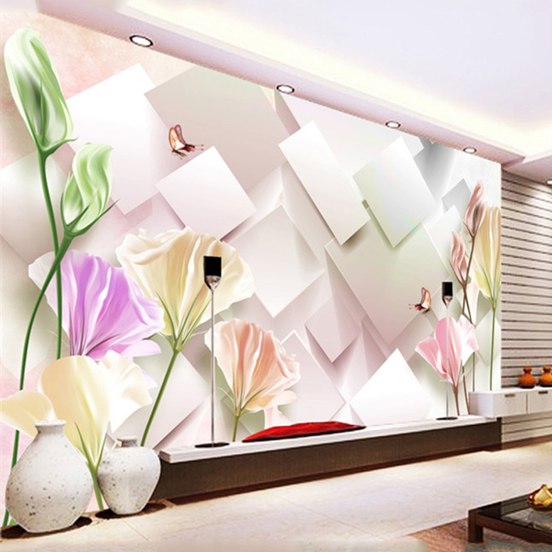 Custom Size 3d Stereo Square Flowers Photo Mural Wallpaper For Bedroom Living Room Tv Backdrop Simple