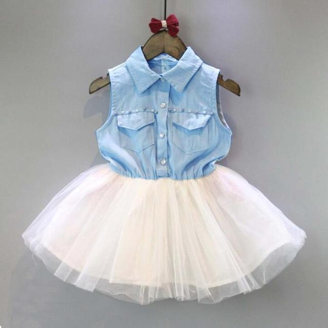 86cfbedcb1 2-6 Years Fashion Baby Girls Sky Blue Dress Toddler Baby Kids Princess  Party Baby Girl Clothes Denim Tulle Tutu Dresses Vestidos