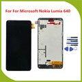 Para microsoft nokia lumia 640 display lcd com tela de toque digitador assembléia com frame + ferramentas gratuitas