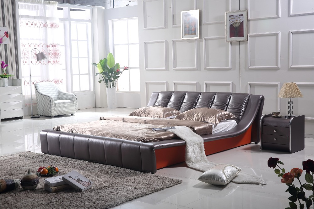Simple Modern Style Bedroom Furniture Leather Bed 0410 Leather Bed