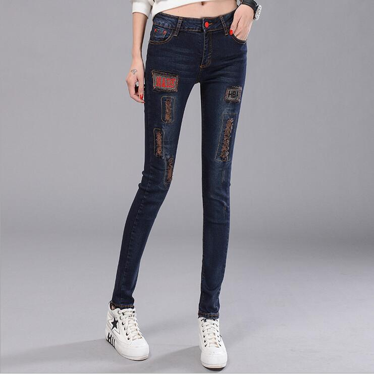 #3243 2016 Womens jeans denim Fashion Jeans with embroidery Skinny bib Ripped jeans for women Vaqueros mujer Pantalon femme