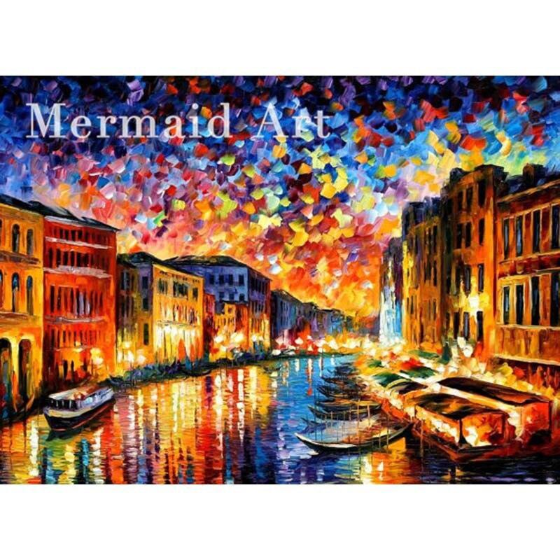 ᐃPeint  La main Peinture € L huile Venise Grand Canal Sur Toile