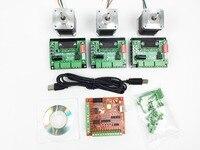 Free Shipping CNC Mach3 USB 3 Axis Kit 3pcs TB6560 Driver Mach3 USB Stepper Motor Controller