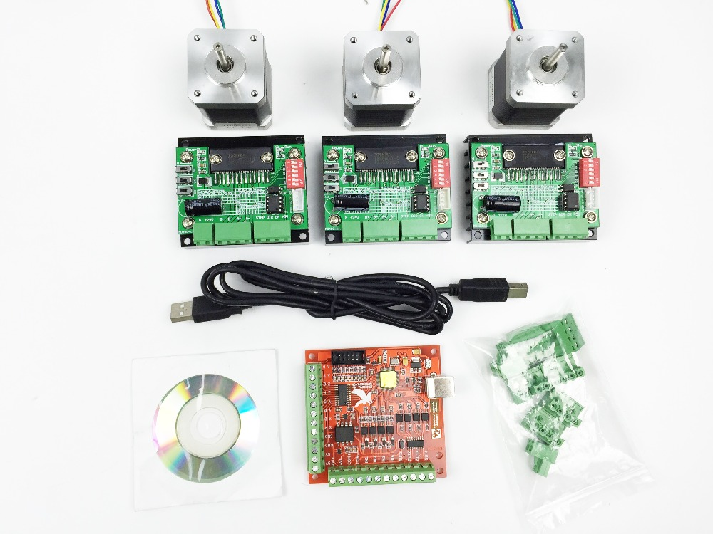 CNC mach3 USB 3 Axis Kit, 3pcs TB6560 driver+ mach3 USB stepper motor controller board+ 3pcs nema17 stepper motor free shipping high quality 4 axis tb6560 cnc stepper motor driver controller board 12 36v 1 5 3a mach3 cnc 12