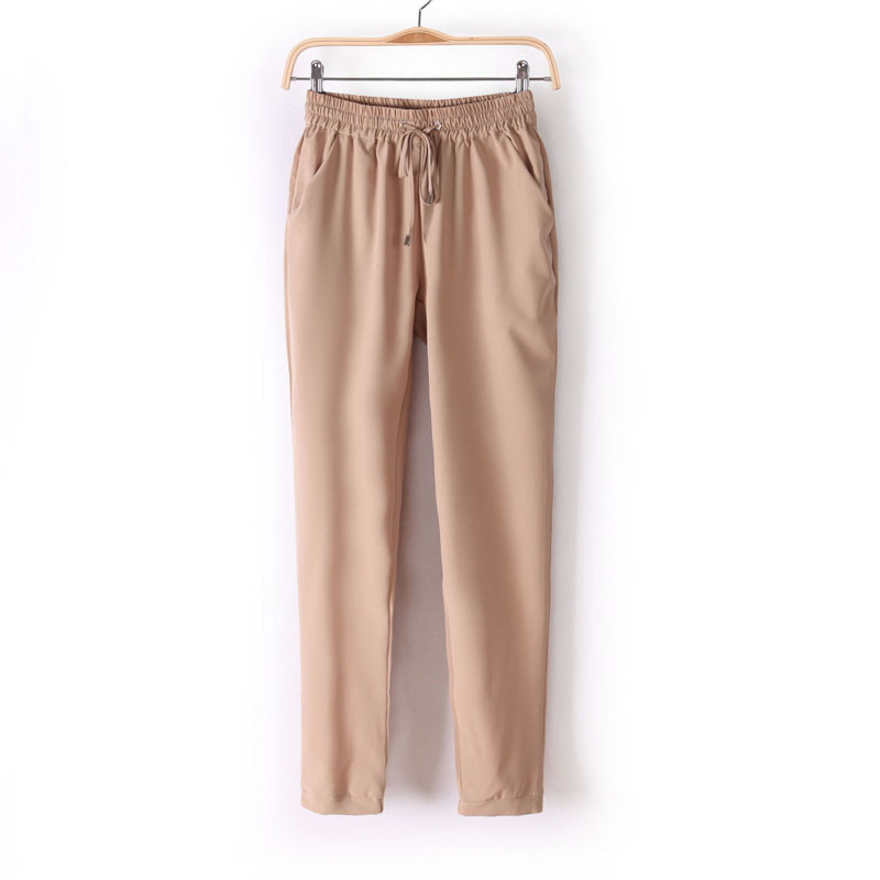 Chiffon Elastic Waist Solid Color Office Pants 14