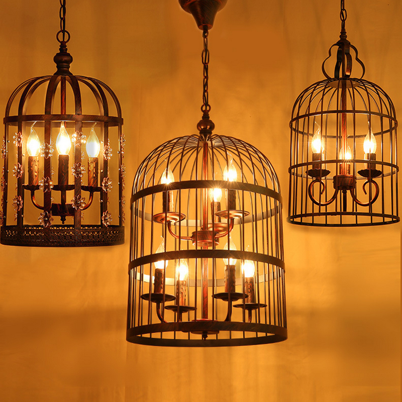 led ream e14 birdcage chandelier american country wrought iron lamp restaurant bedroom lamps cage lamp - Birdcage Chandelier