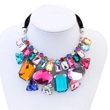 Трендовое ювелирное изделие 2018 красочное акриловое Кристальное ожерелье для женщин эффектное геометрическое ожерелье для женщин