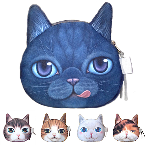 New Fashion Ladies Cute Cat Face Animal Change Coin Purse Wallet Mini Zipper Bag 2017new coin purses wallet ladies 3d printing cats dogs animal big face fashion cute small zipper bag for women mini coin purse