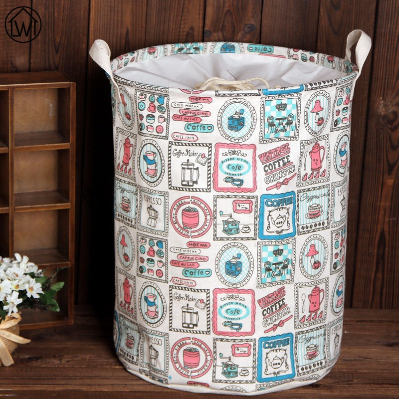 Zakka Big Sizes Linen Handle Beam Port Storage Bag Laundry Basket Folding Sundries Basket,Toy Dirty Cothes Storages Box European