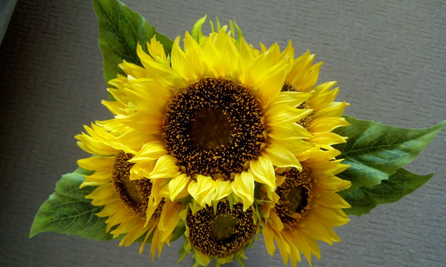 46cm Artificial Silk Flowers 7 Heads Large Sunflower Bush Yellow