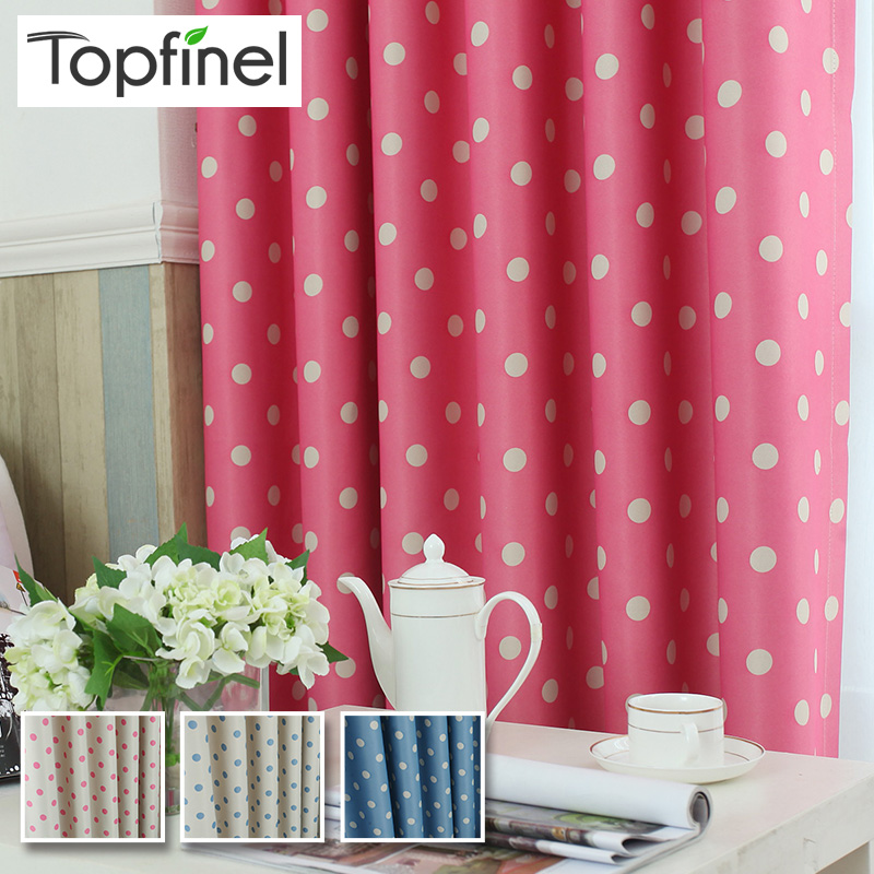 Top finel kids polka dots blackout window curtain panel for Cheap childrens curtain fabric