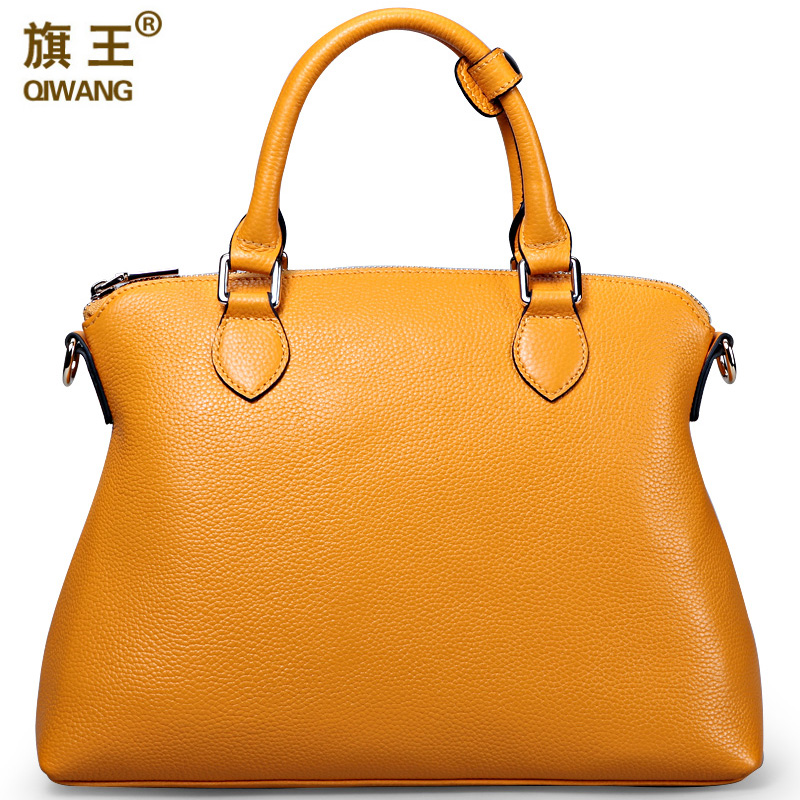 Qiwang Large Yellow Handbags Amazon Shop Hot Sales Nice Leather Hand Bag Litchi Pebble Top Layer Cowide Original Bag <font><b>Big</b></font>