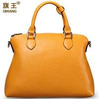 Qiwang Large Yellow Handbags Amazon Shop Hot Sales Nice Leather Hand Bag Yellow Real Leather Top Layer Cowide Original Bag Big