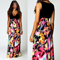Summer Dress European And American Style Maxi Dress  Sexy Deep V-neck Sleeveless Dress  Printed Princess Dress For Women Lady
