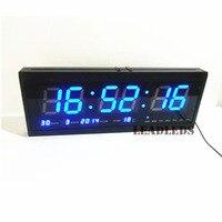 Blue 19inch 48cm LED Digital Electronic Clock Big Sitting Room Wall Clock Luminous Calendar Clock Time