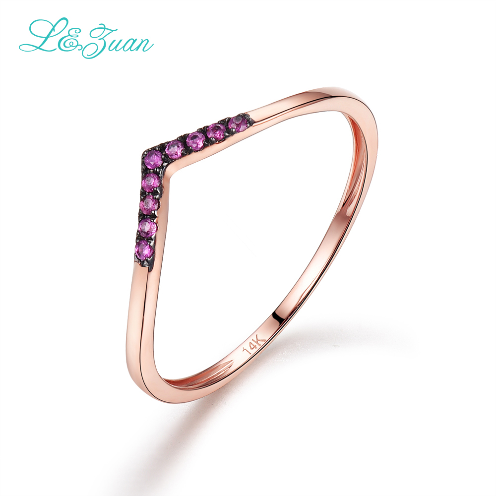 L&Zuan Ruby Jewelry Rings For Women Natural Red Stone 14K Rose Gold - Fine Jewelry - Photo 3