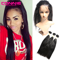360 Lace Frontal With Bundles Malaysian Lace Virgin Hair Straight Natural Hairline 360 Lace Frontal Closure With Baby Hair